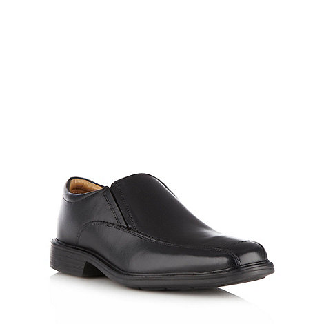 Henley Comfort - Black 'Airsoft' leather square toe slip on shoes