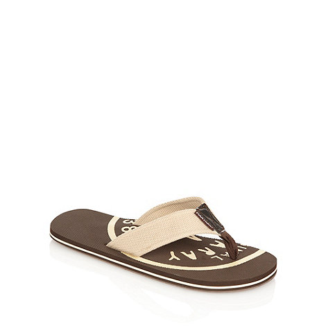 Mantaray - Chocolate brown canvas strapped flip flops