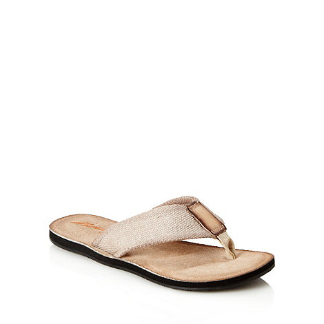 Mantaray - Natural chunky canvas strapped flip flops