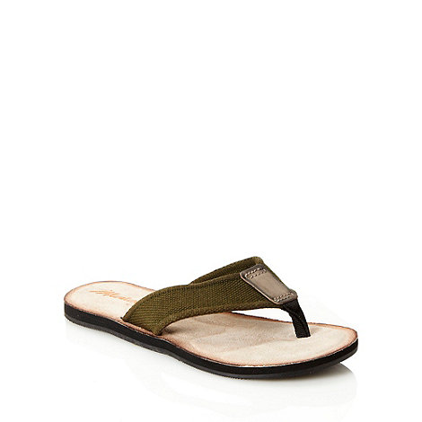 Mantaray - Khaki chunky canvas strapped flip flops