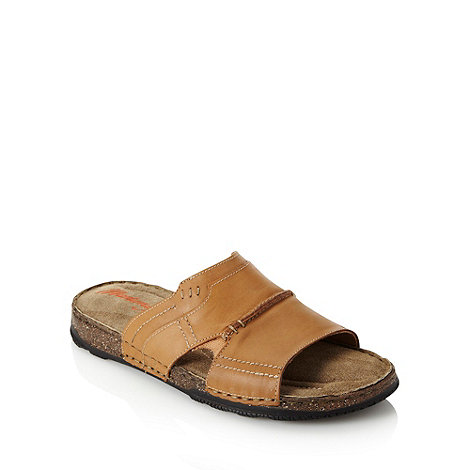 Mantaray - Tan panelled leather mule sandals