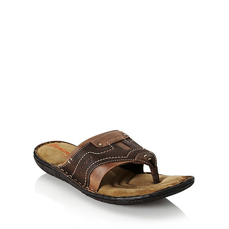 Mantaray - Chocolate stitched leather thong strap flip flops