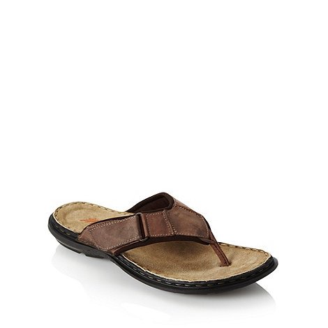 Mantaray - Brown leather rip tape thong strap flip flops