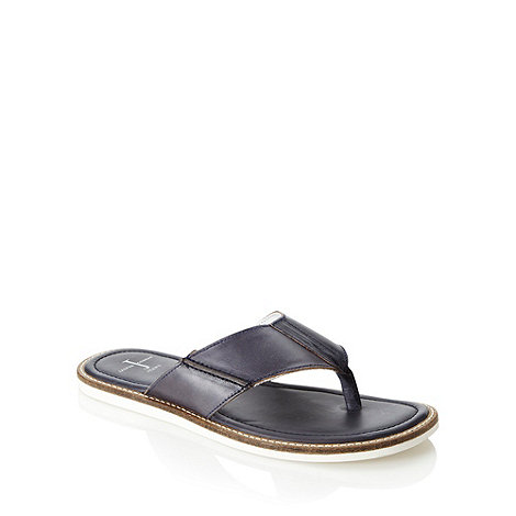 J by Jasper Conran - Designer navy leather thong strap flip flops