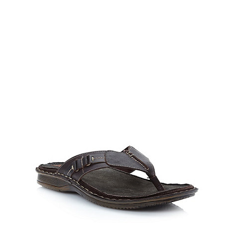 Mantaray - Chocolate brown leather sandals