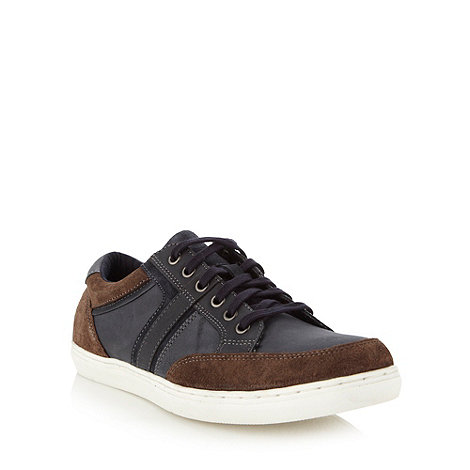Mantaray - Navy leather panelled trainers