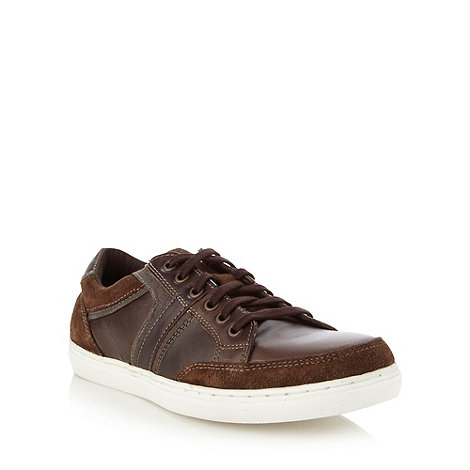 Mantaray - Brown leather panelled trainers