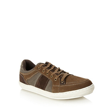 Mantaray - Brown suede panelled lace up shoes