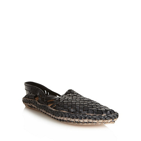 Red Herring - Black woven leather slip on shoes