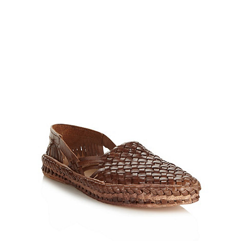 Red Herring - Brown woven leather slip on shoes