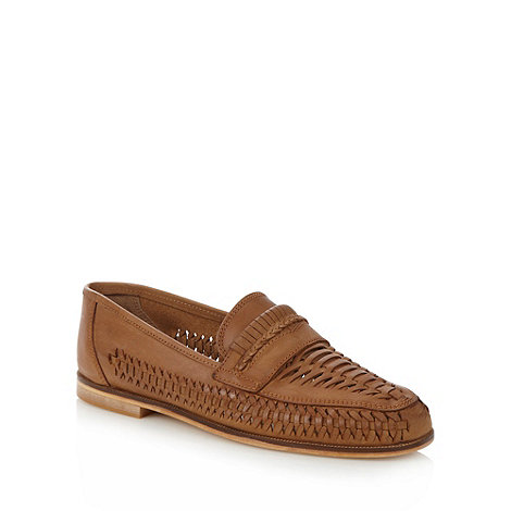 Red Herring - Tan leather weave loafers