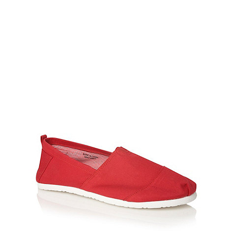 Red Herring - Red canvas slip on shoes