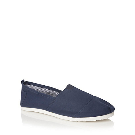 Red Herring - Navy canvas slip on shoes