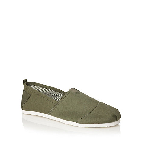 Red Herring - Khaki canvas slip on shoes