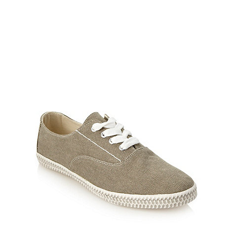 Red Herring - Khaki textured canvas trainers