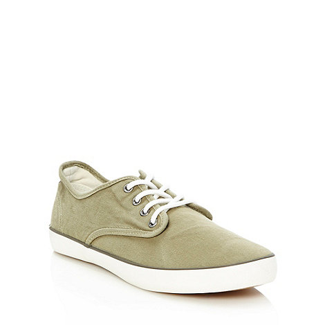 Red Herring - Khaki washed canvas trainers