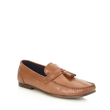 Red Herring - Tan leather tassel trimmed loafers