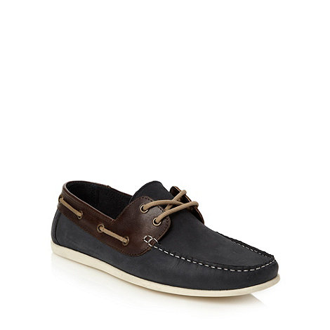 Red Herring - Navy leather boat shoes