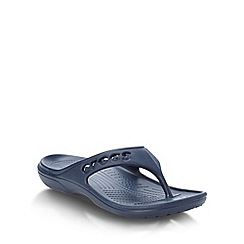 Crocs - Navy cut out logo flip flops
