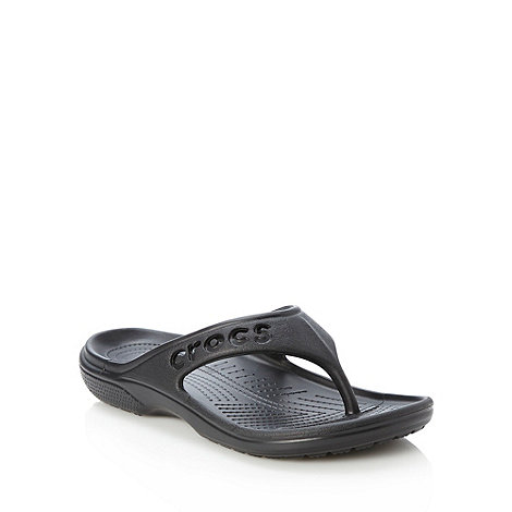 Crocs - Black cut out logo flip flops