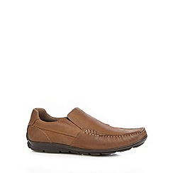 Henley Comfort - Brown 'Airsoft' leather square toed loafers