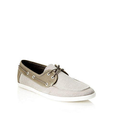 Call It Spring - Beige chambray panelled boat shoes
