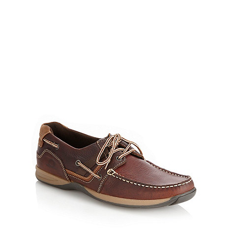 Chatham Marine - Brown stab stitched grain leather boat shoes