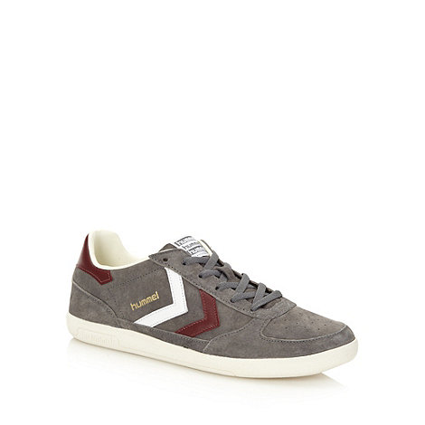Hummel - Grey leather panelled trainers
