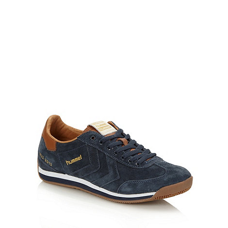 Hummel - Navy branded suede trainers