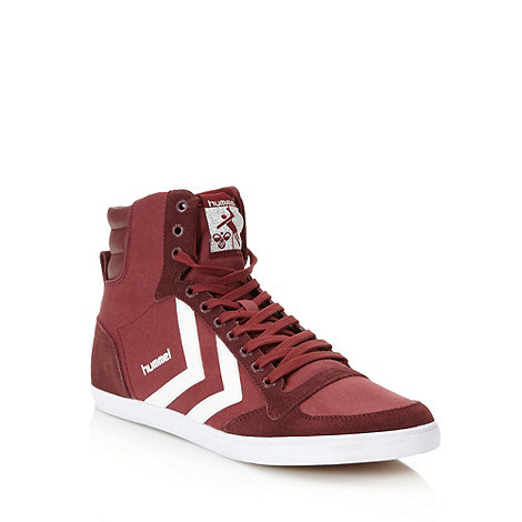 Hummel - Dark red leather panelled high top trainers