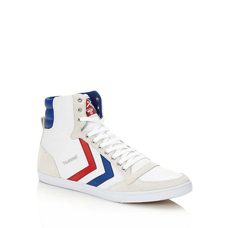 Hummel - White leather trimmed high top trainers