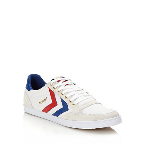 Hummel - White suede panelled canvas trainers