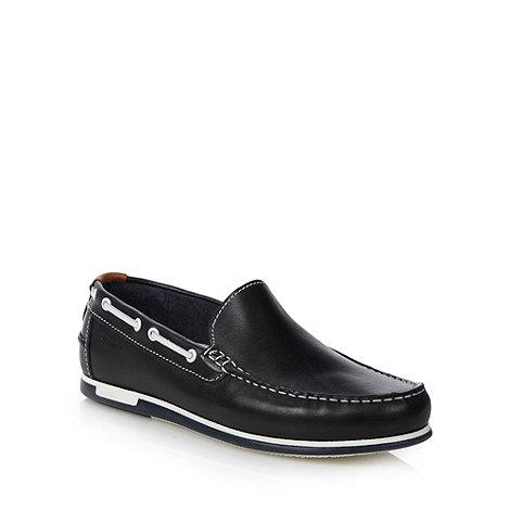 Wrangler - Navy leather slip on boat shoes