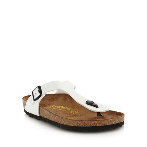 Birkenstock - White +Gizeh+ flat t-bar sandals