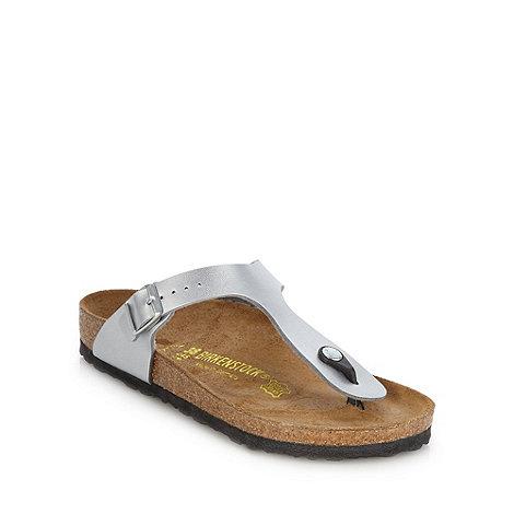 Birkenstock - Silver +Gizeh+ flat t-bar sandals