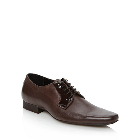 H By Hudson - Brown leather patent trim shoes