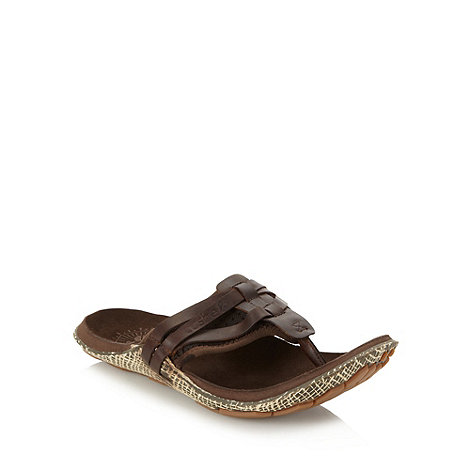 Cushe - Brown leather toe post strap sandals