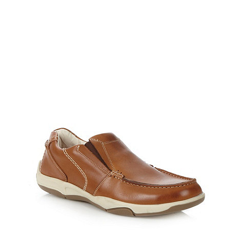 Maine New England - Tan leather slip on shoes