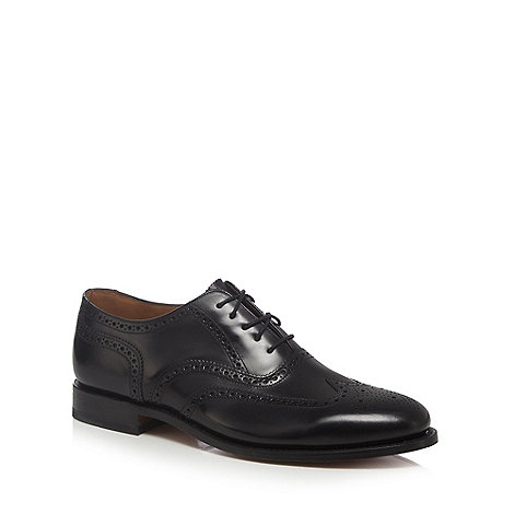 Loake - Wide fit black full brogue shoes