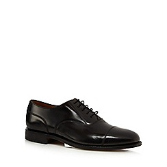 Loake - Big and tall wide fit black capped toe oxford shoes