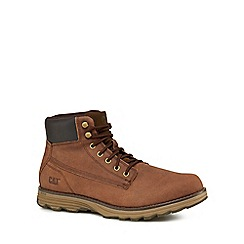 Caterpillar - Dark tan leather 'Intake' boots