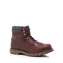 Caterpillar - Plum leather 'Colorado' ankle boots