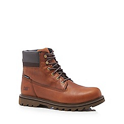 Caterpillar - Dark tan leather 'Deplete' lace up boots