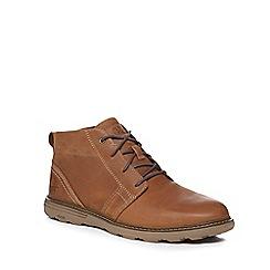 Caterpillar - Dark tan leather 'Trey' chukka boots