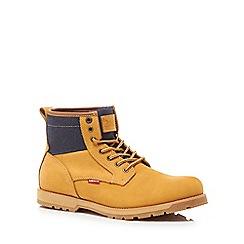 Levi's - Beige leather 'Logan' lace up boots