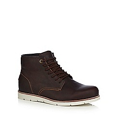 Levi's - Dark brown leather 'Jax' lace up boots