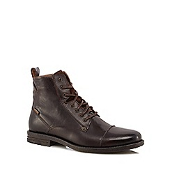 Levi's - Dark brown leather 'Emerson' lace up boots