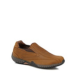 Skechers - Tan leather 'Tramline' slip-on shoes