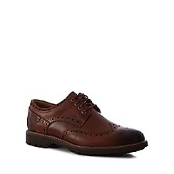 Clarks - Dark tan leather 'Montacute Wing' brogues