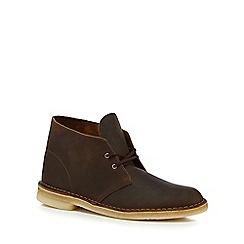 Clarks - Dark brown leather desert boots